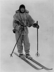 Captain Scott on skis.